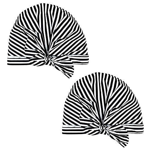 Wiederverwendbare Duschhaube, 2er Pack wasserdichte Schwarz-Weiß-Streifen-Duschhaube für Frauen Mädchen Langes Haar Salon Spa Badzubehör Duschhut für Frauen Haarschutz