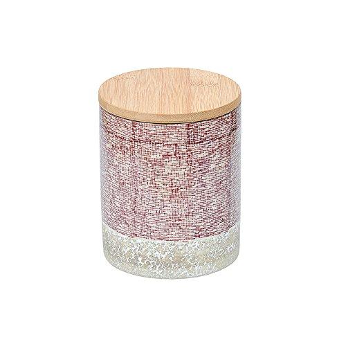 Tranquillo Dose Japanese Purple, Aufbewahrungsdose aus Steingut groß mit rustikalem Fuß und abnehmbarem Bambusdeckel mit Gummidichtung, Lila, 11 x 13 cm