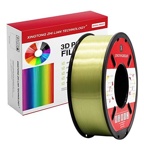 Filamento PLA para impresora 3D de 1,75 mm, filamento de impresión 3D PLA para impresora 3D y bolígrafo 3D, precisión dimensional +/- 0,02 mm, 1 kg 1 bobina(Bronce de seda)