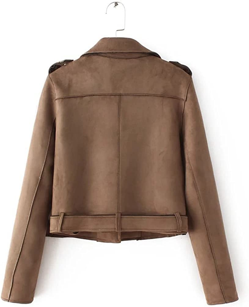 Baymate Damen Classics Jacke Elegant Wildleder Suede Kurz Jacket Outwear Kaffee