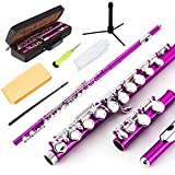 EASTROCK Closed Hole Flutes C 16 Key for Beginner, Kids, Student -Nickel Flute with Case Stand and Cleaning kit (Pink)