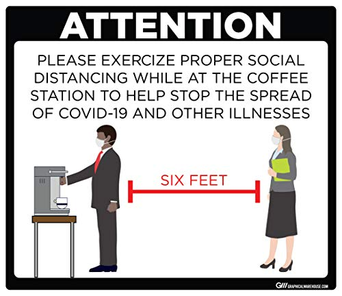 'Coffee Station Social Distancing' COVID-19 (CORONAVIRUS) Adhesive Durable Vinyl Decal- (Various Sizes Available) Sign by Graphical Warehouse- Safety and Security Signage (11.25x9.65', Black)
