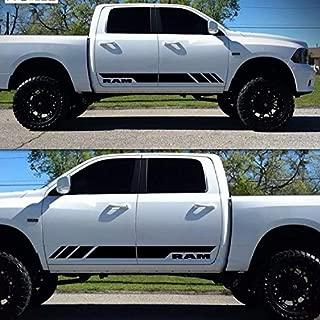 JEYODA Side Stripe Decal Sticker Kit for Dodge Ram Car Door Body Side (black)