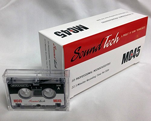 SoundTech MC45 Microcassette Tapes,  45 Minute, 22.5 Minutes per side. Total 10 Professional Microcassettes (Replacement for Sony, Olympus, Maxell Micro Cassette)