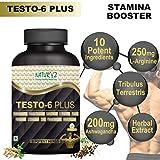 Naturyz Testo-6 Plus Supplement For Men with 250mg L-Arginine, 200mg Ashwagandha Extract, 100mg