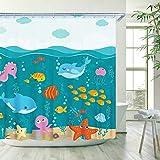 Stacy Fay Under The Sea Shower Curtains Kids Bathroom Decor Cartoon Dolphin Octopus Whale Shower Curtain Startfish Oean Fish for Kids Boys Girls Childish Shower Curtain 72 Inch