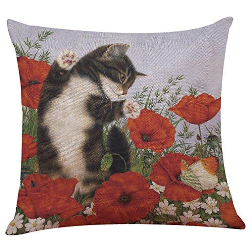 Cute Cat Throw Pillow Covers Cushion Case Home Decor for Livingroom Sofa Car Bedroom With Invisible Zipper 18x18 Inches