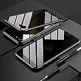 iPhone SE2 ケース 覗見防止 iPhone8 両面ガラス ケース iPhone7 対応 360°全面保護 OURJOY アイフォンSE 第2世代 アルミ バンパー ケース マグネット式 磁石 磁気接続 スマホケース ストラップホール付き 耐衝撃 クリアケース (iPhone SE 2020 ブラック)