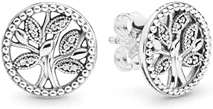 PANDORA Trees of Life 925 Sterling Silver Earrings - 297843CZ