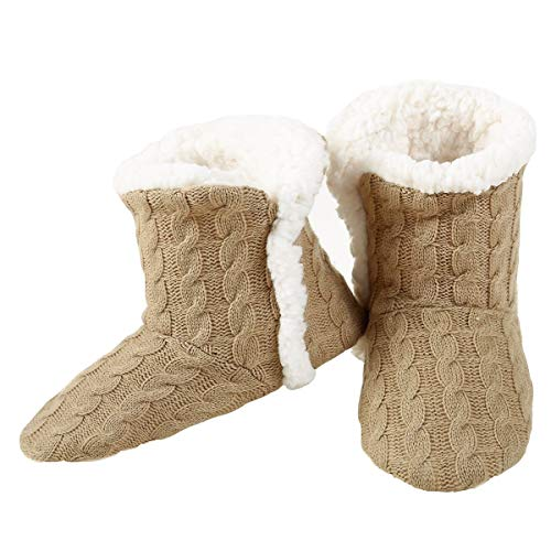 YELETE Womens Cable Knit Slippers House Booties Socks Soft Sherpa Lining Rubber Soles Tan