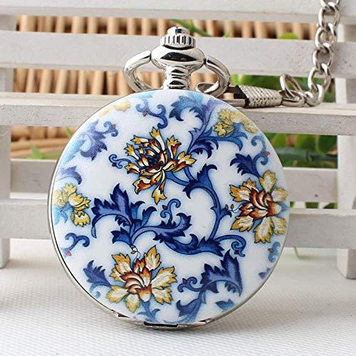 WMYATING Reloj de bolsillo mecánico con diseño exquisito, hermoso, elegante y único, diseño de flores steampunk con cadena y collar de reloj de regalo para hombres y mujeres