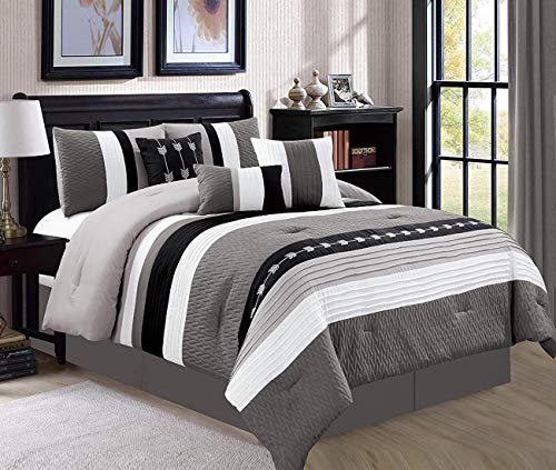 JBFF Oversize Stripe 7 Piece Luxury Micofiber Bed in Bag Microfiber Comforter Set (Queen, Black)