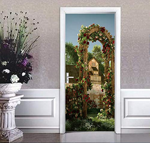 3D Self Adhesive Wall Art Decal On Bamboo Forest Trail Door New Sticker For Home Door Decoration Renovation Print Canvas Picture