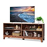 Tangkula Wooden TV Stand, Rustic Style Universal Stand for TV's up to 65' Flat Screen, Home Living Room Storage Console Entertainment Center, 58 Inch TV Stand (Coffee)