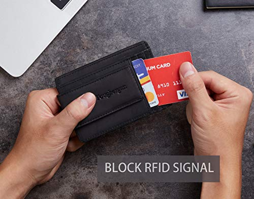 Toughergun Genuine Leather Magnetic Front Pocket Money Clip Wallet RFID Blocking (Crazy Horse Black)