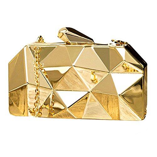 AiSi Bolso de mano de metal para mujer, diseño geométrico con cadena, color Amarillo, talla Einheitsgröße