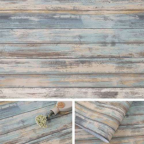 Arthome Blue Rustic Wood Paper 17''x120'' Self-Adhesive Removable Wood Peel and Stick Wallpaper Vinyl Decorative Wood Plank Film Vintage Wall Covering for Furniture Easy to Clean Wooden Grain Paper