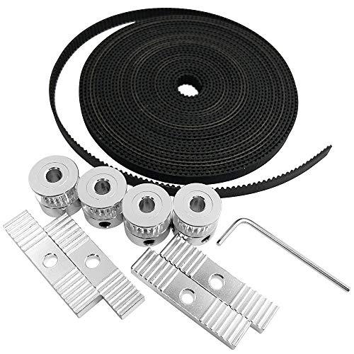 AFUNTA - Accessori per stampante 3D, 5 metri GT2, 4 pezzi 20 pulegge dentate e 1 chiave esagonale e 4 blocchi di montaggio per stampante 3D, compatibile con Reprap, Prusa, MendelMax