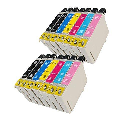 14 Cartucce d'inchiostro compatibile PER Epson con CHIP T0801 T0802 T0803 T0804 T0805 T0806 (4x nero + 2x ciano + 2x magenta + 2x giallo + 2x ciano chiaro + 2x magenta chiaro) Epson Stylus Photo R265 / Stylus Photo R360 / Stylus Photo RX560 / Stylus Photo R285 / Stylus Photo R585 / Stylus Photo R685 / Stylus Photo RX585 / Stylus Photo RX685 / Stylus Photo PX700W / Stylus Photo PX800FW / Stylus Photo P50 .