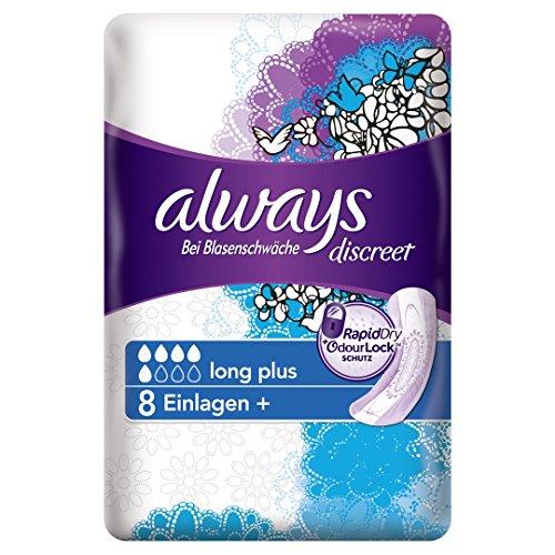 Always Discreet Inkontinenz Einlagen+ Long Plus Bei Blasenschwäche, 5er Pack (5 x 8 Stück)