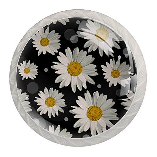 4er Set Möbelknöpfe Kinderzimmer Set Weiße Blumen Süß Schubladenknöpfe Kinderzimmer Personalisierter Druck, einzigartig Möbelknäufe 3.5x2.8cm