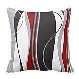 Uteruik - Funda de cojín (46 x 46 cm), diseño de Rayas, Color Rojo, Negro y Blanco y Gris