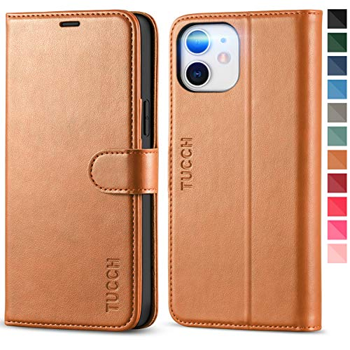 TUCCH Wallet Case for iPhone 12/iPhone 12 Pro 5G, Magnetic PU Leather Stand Flip Cover with TPU Protect Inner Shell, RFID Blocking Card Slot Compatible with iPhone 12/12 Pro 6.1-inch, Light Brown