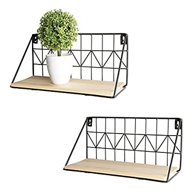 Mkono Wall Mounted Floating Shelves Set of 2 Rustic Metal Wire Storage Shelves Display Racks Home Decor by, 11 1/2 Inches