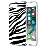 ZhuoFan Funda para iPhone SE 2020 / iPhone 8 / iPhone 7 [4.7'] Cárcasa Silicona Transparente con Dibujos Diseño Suave TPU Antigolpes de Protector Piel Bumper Case Funda para Movil, Cebra