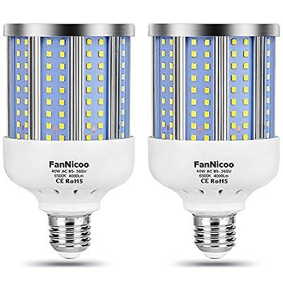 2 Pack 280W Equivalent LED Corn Light Bulb, 4000 Lumen 6500K Cool White Daylight 40W LED Corn Lamp,E26/E27 Medium Base,for Indoor Outdoor Warehouse Garage Basement Backyard Factory Barn and Many Area