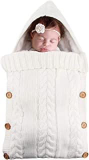 NSY Soft Thick Newborn Baby Swaddle Wrap Sleeping Bag, Multi-Functional Knitted Crochet Hooded Blanket, Suitable for Travel, Camping, Outside Playing
