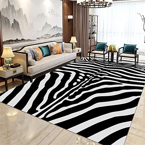La alfombras alfombras de baño Alfombra con Textura de Cebra en Blanco y Negro, Antideslizante y Resistente a la decoloración, Sala de Estar alfombras Entrada Alfombra Salon 180*250cm