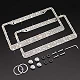 9. XCLPF Bling License Plate Frame for Women, Sparkly Stainless Steel License Plate Frames  Over 1000 pcs 14 Facets Bedazzled Clear Glass Diamond Rhinestone Crystals w/Free Glitter White Diamond