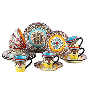 Euro Ceramica Zanzibar Collection Vibrant 16 Piece Earthenware Dinnerware Set, Service for 4, Spanish Floral Design, Multicolor
