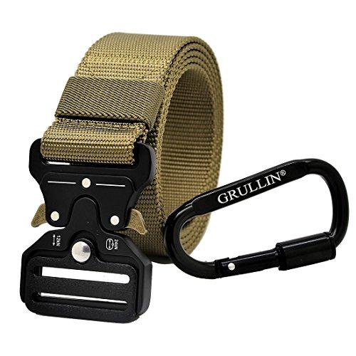 GRULLIN Heavy Duty Táctico Cinturon, Estilo Militar Web Reggers Cinturon, CQB Quick-Release Metal Hebilla Cinturón con Mosquetón con Cierre de Aluminio (Marrón3)
