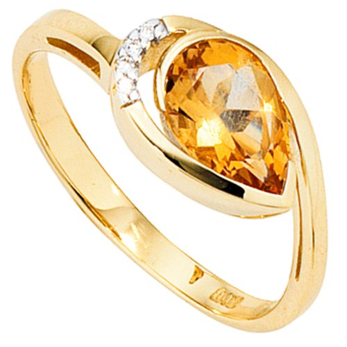 Goldring Ring Citrin & 4 Diamanten Brillanten 585 Gold Gelbgold Damen, Ringgröße:Innenumfang 60mm ~ Ø19.1mm