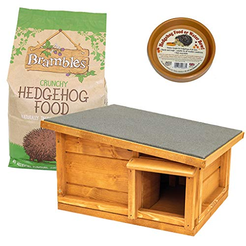 Home and Roost 3-teiliges Igel-Awareness-Haus | Brambles Igelfutter 2 kg | Wassernapf | Starter-Set