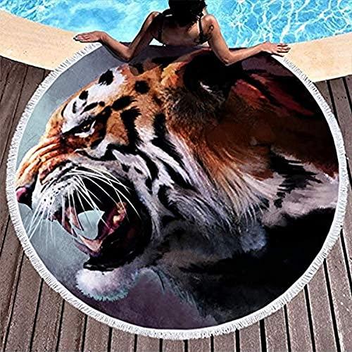 Tiger on Fire Animal Artwork Mantel Blanco Esterilla de Yoga Esterilla Gruesa y Redonda Toalla de Playa Manta de Felpa Suave, a Prueba de decoloración, Absorbente, de Secado rápido