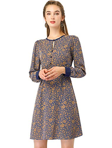 Allegra K Women's Fall Elastic Waist Contrast Color Long Sleeve Keyhole Neck A-line Floral Dress XS Blue