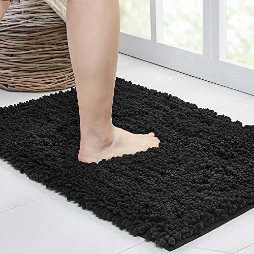 Walensee Bathroom Rug Non Slip Bath Mat (24x17 Inch Black) Water Absorbent Super Soft Shaggy Chenille Machine Washable Dry Extra Thick Perfect Absorbant Best Small Plush Carpet for Shower Floor