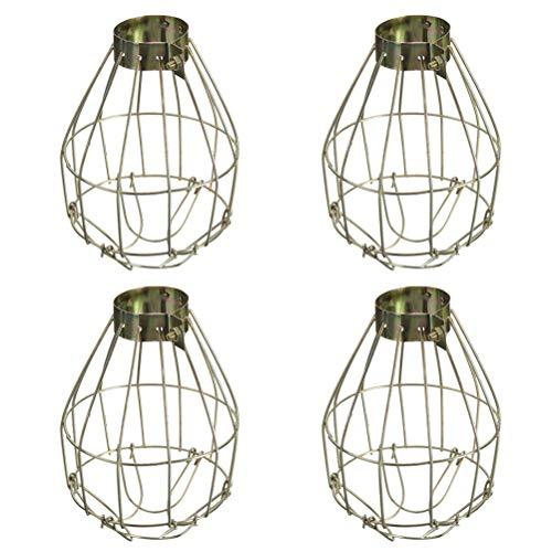 Mobestech 4pcs lámpara de Metal Bombilla Protector Abrazadera Jaula de luz Vintage Colgante lámpara Industrial Cubiertas Colgante decoración para el hogar Bar