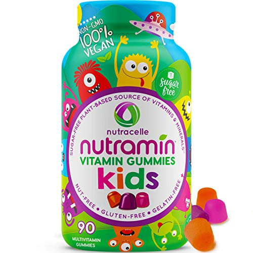 NUTRAMIN Sugar-Free, Allergen-Free & Vegan Gummy Multivitamins for Kids - Great Tasting Gummies Your Kids Will Love - 90 Count Bottle by Nutracelle
