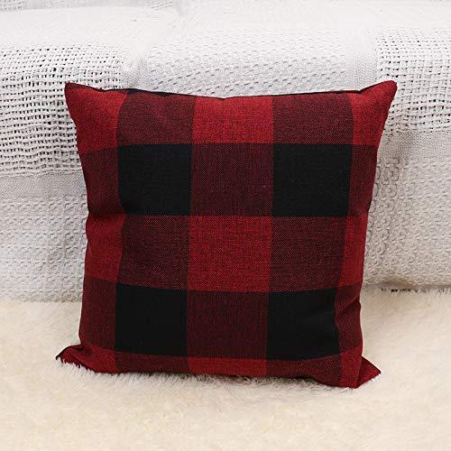 Sofá Almohada Enrejado Almohada De Oficina Cojín De Cama Cuadrado Cojín Lumbar De Vapor 45 * 45 cm (sin núcleo de Almohada) 10 Rojo y Negro