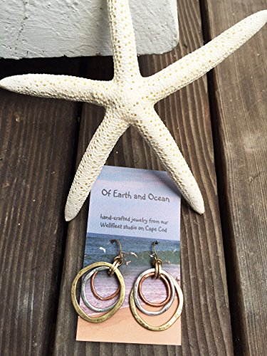 Handmade Sunrise Tricolor Dangle Earrings - Burnished Circles, Copper, Brass and Silverplated