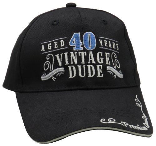 Laid Back 40th Birthday Vintage Dude Hat, Adjustable, Black