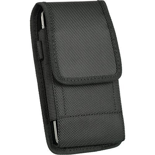 For Samsung Galaxy Galaxy S9 Plus , Galaxy S8 Plus , S7 Edge Plus,Galaxy Note Edge, NOTE 5, NOTE 4 , NOTE 3 , NOTE 2 , Black Vertical Clip Holster Pouch Rugged Nylon Flap Case Steel Metal Belt Clip +
