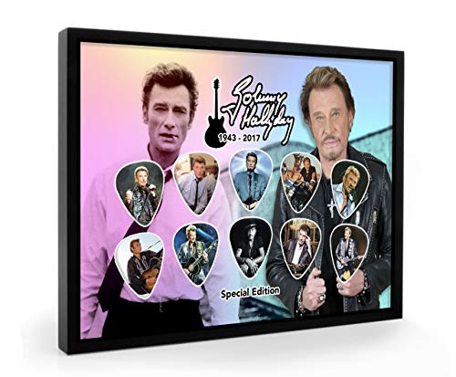 Johnny Hallyday Guitare encadrée Pick plectre Framed Display