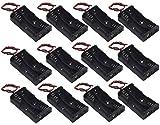 WAYLLSHINE? 12 Pcs/1 Dozen 2 x 1.5V AA Battery Holder Case Box Black Wire Leads