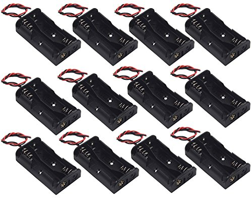 WAYLLSHINE? 12 Pcs/1 Dozen 2 x 1.5V AA Battery Holder Case Box Black Wire Leads