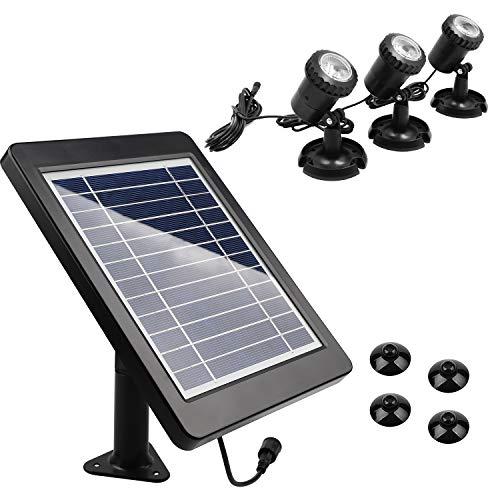CPROSP Solar Gartenleuchte Warmweiß 3000-3200K 3er Solarstrahler LED Solarlampen für Außen, 3 Installationsmethode, für Bäume, Sträucher, Gartenweg, Teich, IP68 Wasserdicht, mit Saugnapf
